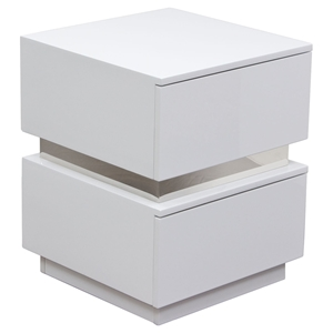 Elle 2 Drawers Accent Table - High Gloss White