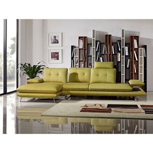 Eva 2-Piece Sectional with Left Arm Facing Chaise - Adjustable Back, Dijon Yellow