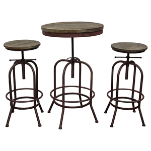 Fairfax 3 Pieces Bistro Set - Weathered Brown, Rust Black