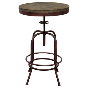 Fairfax Adjustable Height Bistro Table - Weathered Brown, Rust Black