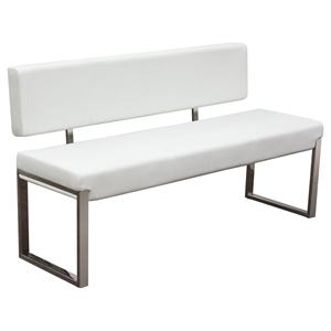 Knox Leatherette Bench - White