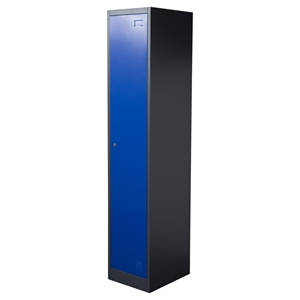 Nova Qwik Metal Storage Locker Cabinet - 1 Door, Key Lock, Blue, Dark Gray