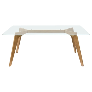 Monarch Rectangle Dining Table - Glass Top, Clear, Oak