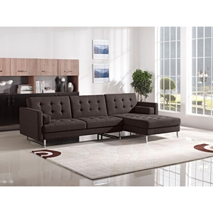 Opus Convertible Sectional - Right Arm Facing Chaise, Tufted, Chocolate