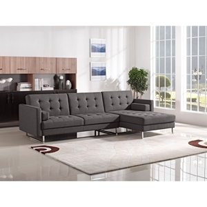 Opus Sectional with Right Arm Facing Chaise - Convertible, Tufted, Gray