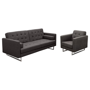Opus Sofa and Chair - Tufted, Gray, Convertible