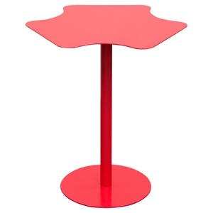 Peta Metal Accent Table - Pedestal Base, Red
