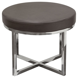 Ritz Round Accent Stool - Elephant Gray, Polished Stainless Steel