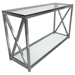 X-Factor Console Table - Glass Top, Shelf, Stainless Steel, Clear