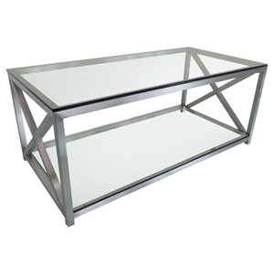 X-Factor Cocktail Table - Glass Top, Shelf, Stainless Steel, Clear