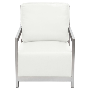 Zen Accent Chair - Stainless Steel, White
