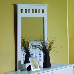 Isobel Framed Mirror - Slats, White Finish