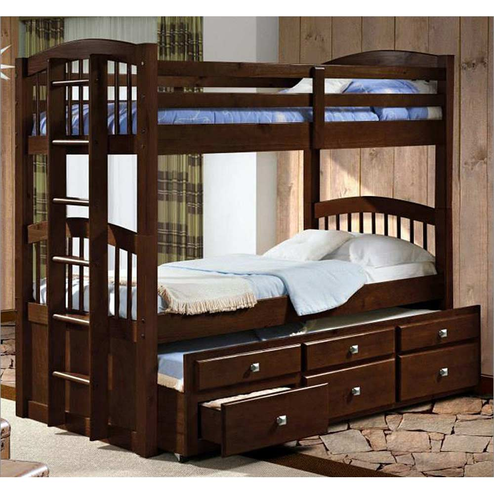 Maclean Tall Twin Spindle Bunk Bed   Storage Trundle, Dark ...
