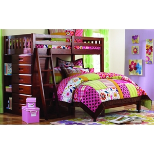 Nerine Twin Over Full Loft Bed - Chest, Shelves, Merlot Finish
