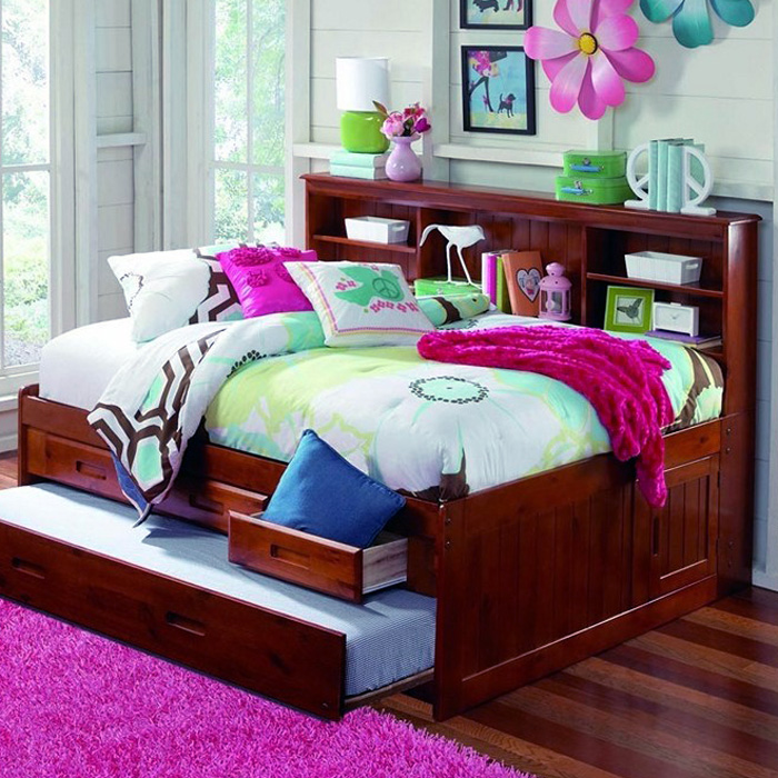Houghton Full Size Daybed Side Bookcase Merlot Finish