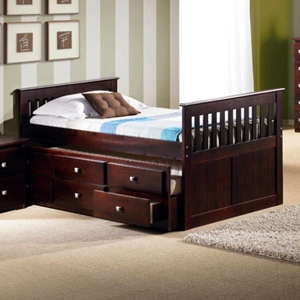 Gable Twin Mission Trundle Bed - Square Handles, Dark Cappuccino