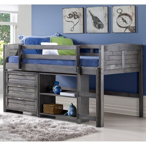 3 Pieces Bedroom Set - Twin Bed, 3 Drawers Chest and Bookcase, Antique Gray