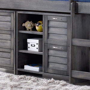 Louver 2-Drawer Chest with Shelves - Antique Gray