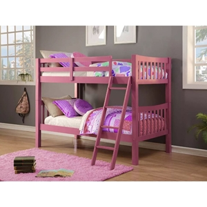 Twin Over Twin Mission Bunk Bed - Pink