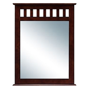 Dorsey Traditional Rectangular Mirror - Slats, Burnished Brown