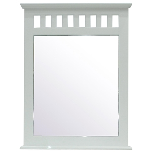 Dorsey Rectangular Mirror - Slats, White Finish