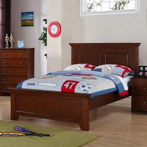 Galway Shaker Full Panel Bed - Crown Molding, Harvest Brown