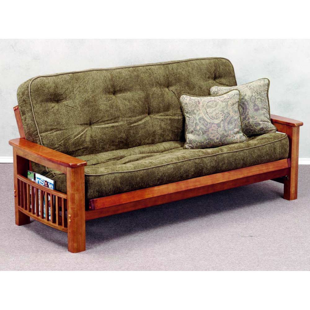 Landmark Wood Futon Frame Magazine Rack Dark Cherry Donc
