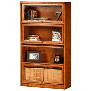 Classic Oak Promo 4-Tier Lawyer Bookcase - Glass Doors