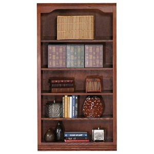 "Classic Oak Bookcase - Curved Molding, 5 Shelves, 60"" Tall"