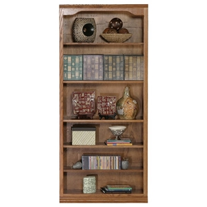 "Classic Oak Bookcase - Curved Molding, 6 Shelves, 72"" Tall"