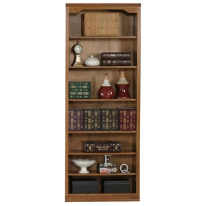 "Classic Oak Bookcase - Curved Molding, 7 Shelves, 84"" Tall"
