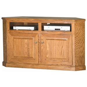 "Classic Oak 56"" Corner TV Cabinet - 2 Shelves, 2 Doors"