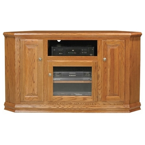 "Classic Oak 56"" Tall Corner TV Cabinet - 1 Open Shelf, 3 Doors"