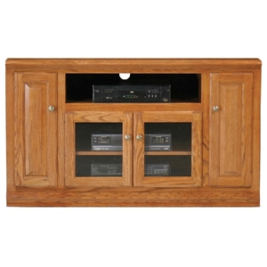 "Classic Oak Thin 55"" TV Cabinet - 1 Open Shelf, 2 Glass Doors"