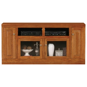 "Classic Oak Thin 66"" TV Cabinet - 2 Open Shelves, 2 Glass Doors"