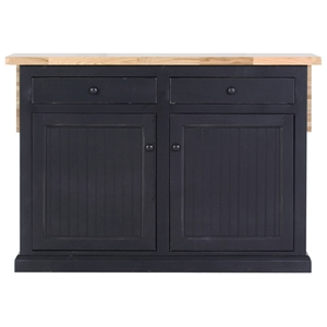 "Coastal 51"" Kitchen Island - Bead Board Doors, Flip-Up Top"