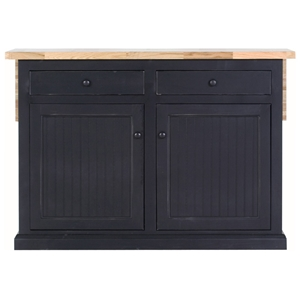 "Coastal 53"" Kitchen Island - Bead Board Doors, Flip-Up Top"