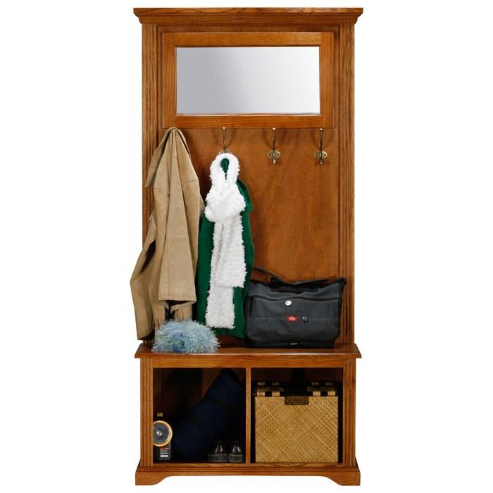 Oak Ridge Hall Tree Storage Bench Mirror Coat Hooks Fluting Egl