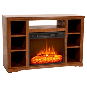 "48"" Oak Ridge Electric Fireplace TV Console - 7 Shelves"