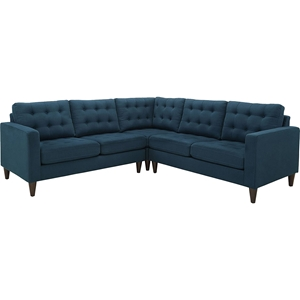 Empress 3-Piece Upholstered Fabric Sectional Sofa - Button Tufted