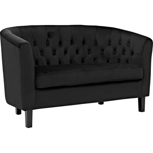 Prospect Velvet Loveseat - Button Tufted, Espresso Legs
