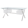 Abeyance Glass Top Office Desk - White - EEI-1182-WHI