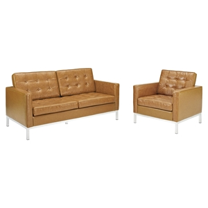Loft 2 Pieces Armchair and Loveseat - Tufted, Leather, Tan