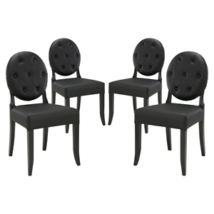 Button Dining Side Chair - Black, Tufted (Set of 4)