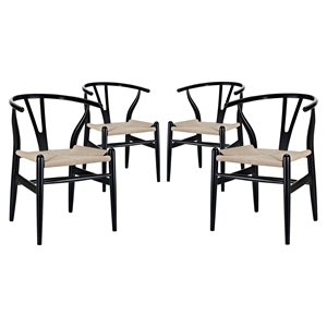 Amish Dining Armchair - Wood Frame, Black (Set of 4)