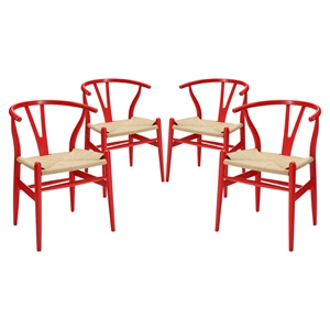 Amish Dining Armchair - Wood Frame, Red (Set of 4)