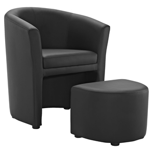 Divulge Leatherette Armchair and Ottoman - Black