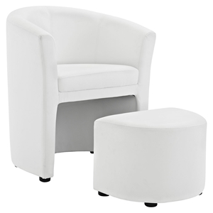 Divulge Leatherette Armchair and Ottoman - White