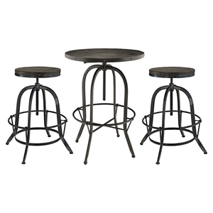 Gather 3 Pieces Dining Set - Backless, Black