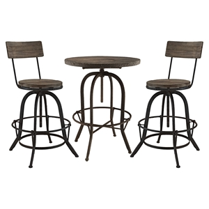 Gather 3 Pieces Dining Set - Brown